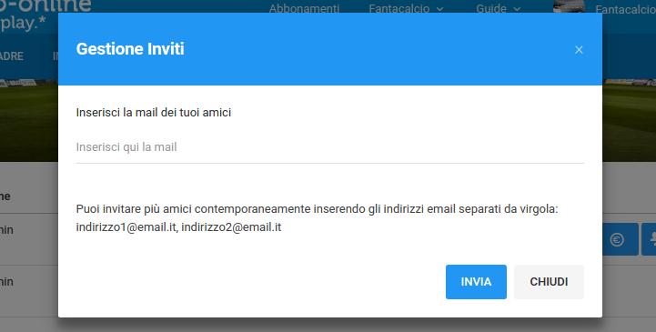 Inviti Multipli   Fantacalcio-Online