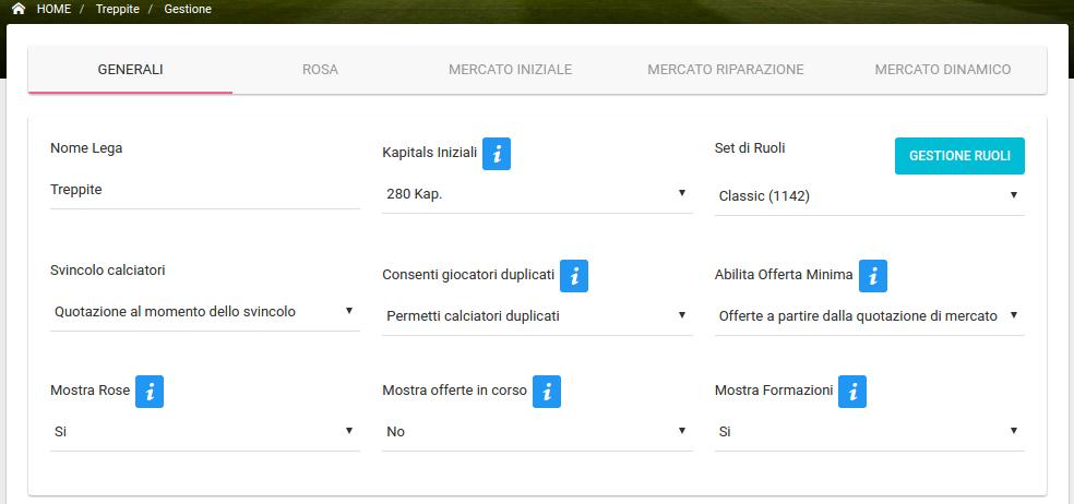 Gestione Lega - Regole Generali FREE | Fantacalcio-Online