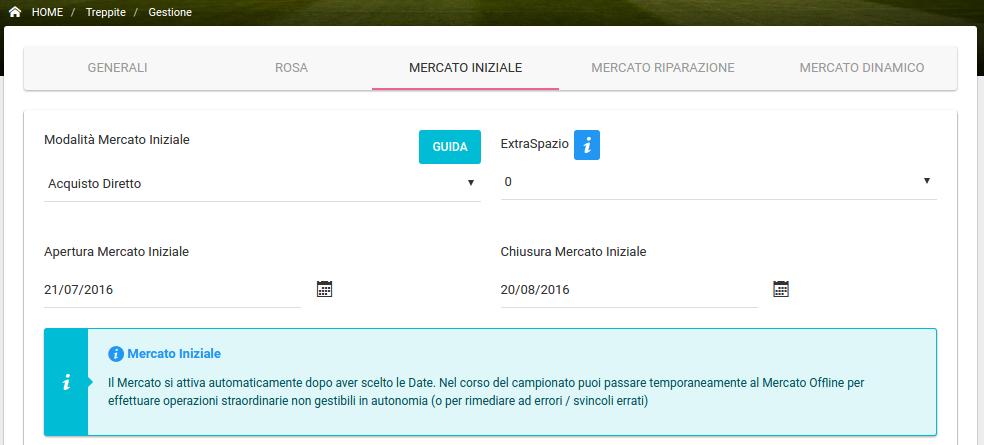 Gestione Lega - Mercato Iniziale FREE | Fantacalcio-Online