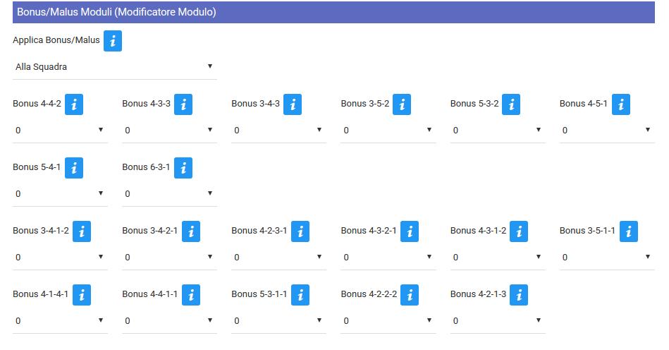 Bonus/Malus per ogni Modulo | Fantacalcio-Online
