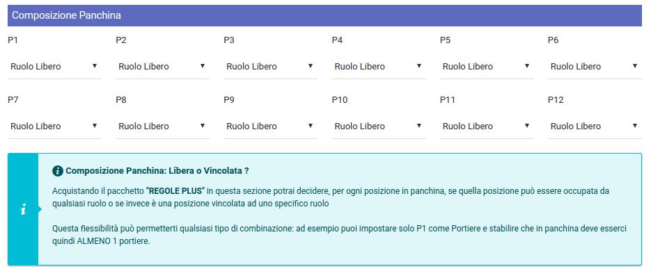 Panchina Vincolata - Regole PLUS | Fantacalcio-Online